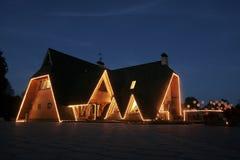 Роскошный дом на ноче Стоковое Изображение RF