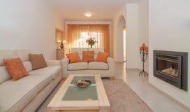 Роскошный салон обедая живущая комната с камином для ослаблять. Стоковая Фотография RF