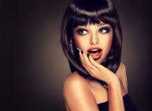 Роскошный стиль моды, ногти делать, косметики, состав Стоковая Фотография RF