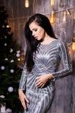 Роскошный, vip, ночная жизнь, партия, рождество, x-mas, концепция Новогодней ночи - красивая женщина в платье вечера стоковое фото