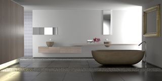 роскошь ванной комнаты самомоднейшая Стоковое фото RF