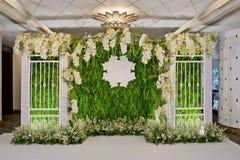 Роскошь внутри помещения Wedding украшение фона Стоковое фото RF