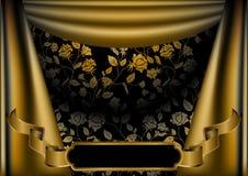 роскошь золота занавеса предпосылки Стоковые Фотографии RF