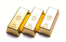 Роскошь 3 золота в слитках Стоковые Изображения