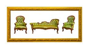 роскошь кресла изолированная зеленым цветом кожаная Стоковая Фотография