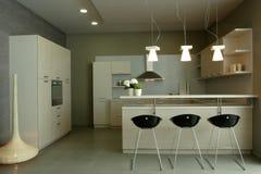 роскошь кухни конструкции шикарная нутряная Стоковые Фотографии RF