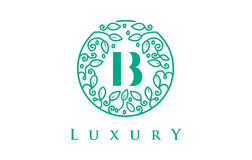 Роскошь логотипа письма b Логотип косметик красоты иллюстрация штока