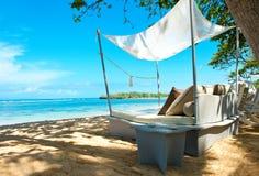 Роскошь ослабляет стул на тропическом пляже Стоковые Фото