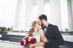 Роскошь поженилась пары свадьбы, жених и невеста представляя в старом городе Стоковые Изображения