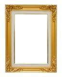 Роскошь рамки античного золота винтажная изолировала белую предпосылку стоковая фотография