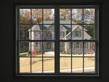 роскошь 2 домов через окно Стоковое фото RF