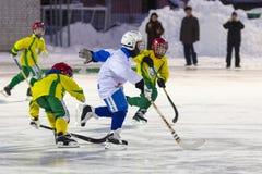 РОССИЯ, АРХАНГЕЛЬСК - 14-ОЕ ДЕКАБРЯ 2014: хоккейная лига 1-ых детей этапа перебрасывается, Россия Стоковые Изображения