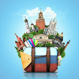 Россия, ориентир ориентиры Москва, ретро чемодан Стоковое фото RF