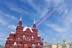Россия отметит семидесятую годовщину анти--фашистской победы с грандиозным парадом Стоковое фото RF