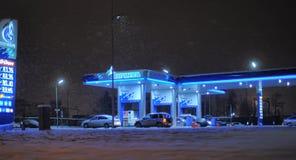 Россия, Санкт-Петербург, 18,01,2014 бензоколонка Gazpromneft в th Стоковая Фотография
