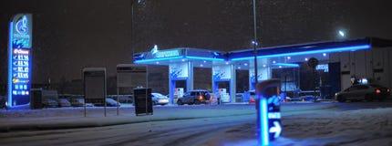 Россия, Санкт-Петербург, 18,01,2014 бензоколонка Gazpromneft в th Стоковое Фото