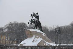 Россия, Санкт-Петербург, бронзовый наездник Стоковая Фотография