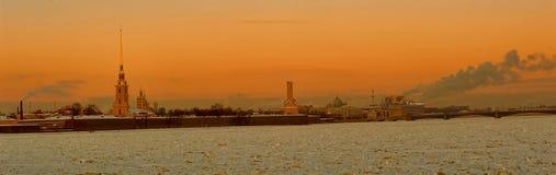 Россия, Санкт-Петербург, взгляд 18,01,2014 из Питера и Пола Fo Стоковые Изображения