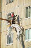 Россия, Санкт-Петербург, Nikolsky 14-ое февраля 2017 - работая молоток работая на фасаде дома Стоковые Фото