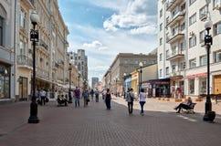 Россия Старая улица Arbat в Москве 20-ое июня 2016 Стоковое Изображение RF