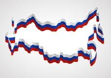 Россия, стилизованная карта и флаг Стоковая Фотография