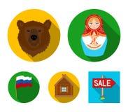 Россия, страна, нация, matryoshka Значки собрания страны России установленные в плоском стиле vector иллюстрация запаса символа иллюстрация штока