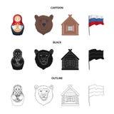 Россия, страна, нация, matryoshka Значки собрания страны России установленные в шарже, черноте, символе вектора стиля плана бесплатная иллюстрация