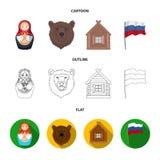 Россия, страна, нация, matryoshka Значки собрания страны России установленные в шарже, плане, плоском символе вектора стиля иллюстрация вектора