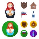 Россия, страна, нация, matryoshka Значки собрания страны России установленные в шарже, плоском запасе символа вектора стиля бесплатная иллюстрация