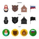 Россия, страна, нация, matryoshka Значки собрания страны России установленные в шарже, черноте, плоском запасе символа вектора ст бесплатная иллюстрация