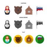 Россия, страна, нация, matryoshka Значки собрания страны России установленные в шарже, плоском, monochrome символе вектора стиля бесплатная иллюстрация