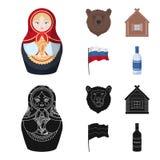Россия, страна, нация, matryoshka Значки собрания страны России установленные в шарже, черном запасе символа вектора стиля бесплатная иллюстрация