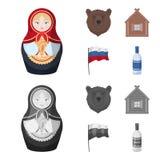Россия, страна, нация, matryoshka Значки собрания страны России установленные в шарже, monochrome запасе символа вектора стиля иллюстрация штока