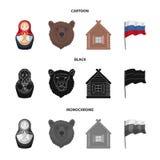 Россия, страна, нация, matryoshka Значки собрания страны России установленные в шарже, черноте, monochrome символе вектора стиля иллюстрация вектора