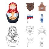 Россия, страна, нация, matryoshka Значки собрания страны России установленные в шарже, запасе символа вектора стиля плана бесплатная иллюстрация