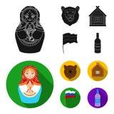 Россия, страна, нация, matryoshka Значки собрания страны России установленные в черном, плоском запасе символа вектора стиля иллюстрация штока