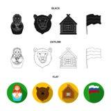 Россия, страна, нация, matryoshka Значки собрания страны России установленные в шарже вводят запас в моду символа вектора иллюстрация вектора