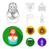 Россия, страна, нация, matryoshka Значки собрания страны России установленные в плане, плоском запасе символа вектора стиля иллюстрация штока