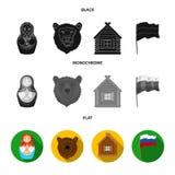 Россия, страна, нация, matryoshka Значки собрания страны России установленные в черном, плоском, monochrome символе вектора стиля бесплатная иллюстрация