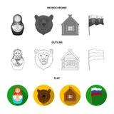 Россия, страна, нация, matryoshka Значки собрания страны России установленные в квартире, плане, monochrome символе вектора стиля иллюстрация штока