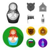 Россия, страна, нация, matryoshka Значки собрания страны России установленные в monochrome, плоском запасе символа вектора стиля иллюстрация вектора
