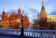 Россия moscow Исторические башни музея и Кремля в красной площади Стоковое Фото