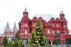 Россия moscow Исторический музей во время праздников рождества Стоковые Фото
