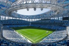 Россия, Nizhny Novgorod - 16-ое апреля 2018: Взгляд стадиона Nizhny Novgorod, строя для кубка мира 2018 ФИФА внутри Стоковое Фото