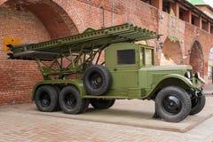 РОССИЯ - NIZHNY NOVGOROD 4-ОЕ МАЯ: система двигателя огня залпа 132 m Стоковые Изображения
