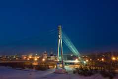 Россия Tyumen Мост на путешествии реки Стоковые Изображения RF