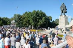 Россия, Ulyanovsk, ралли 9-ое июля 2018 против поднимать пенсионный возраст и налоги Стоковая Фотография