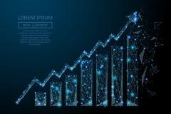 Роста диаграммы синь низко поли Стоковые Изображения