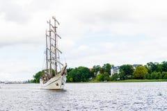 Росток, Германия - август 2016: парусное судно Artemis Стоковое фото RF