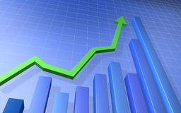 рост диаграммы в виде вертикальных полос финансовохозяйственный Стоковая Фотография RF